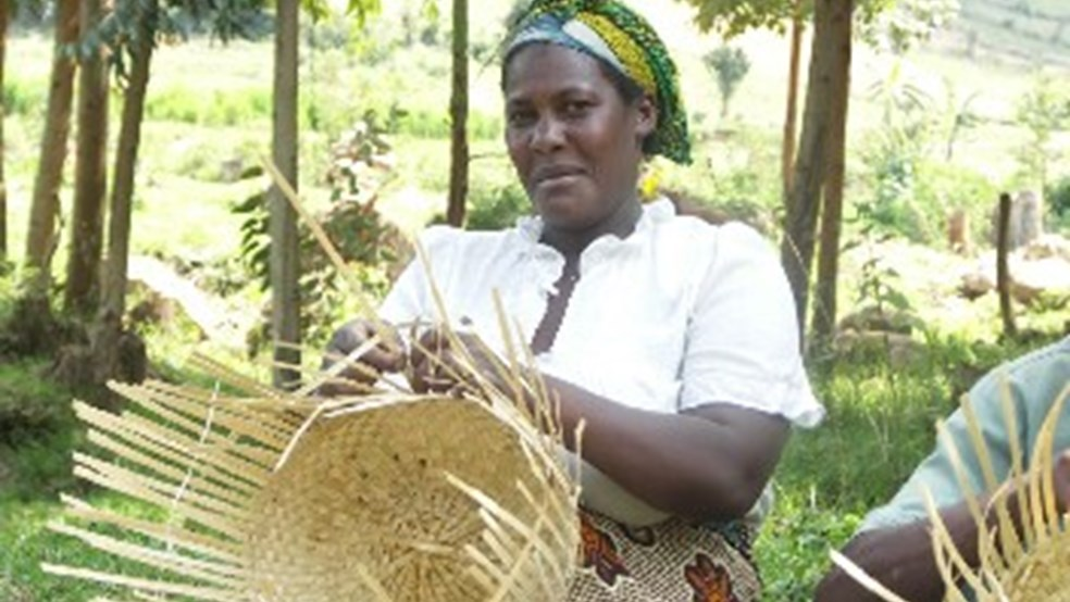 Bachiga lady weaving bamboo baskets, Kashasha