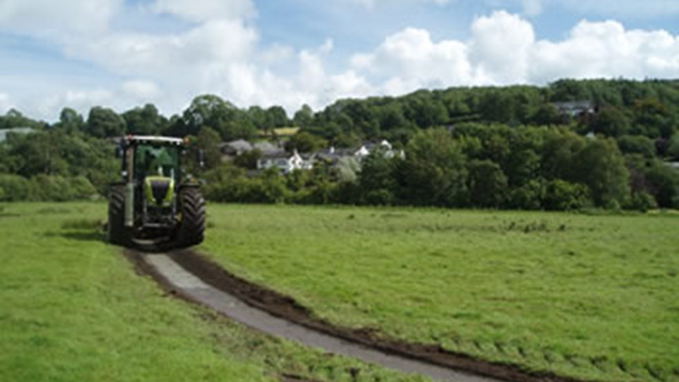 Rotary ditcher at Lane End, Lyth Valley