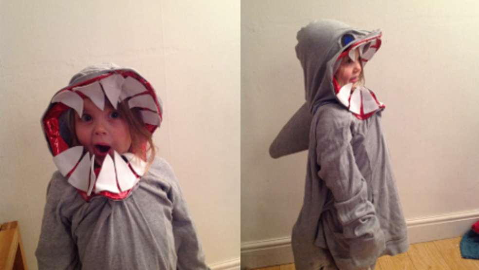 Holly, aged 4 dressed as a shark