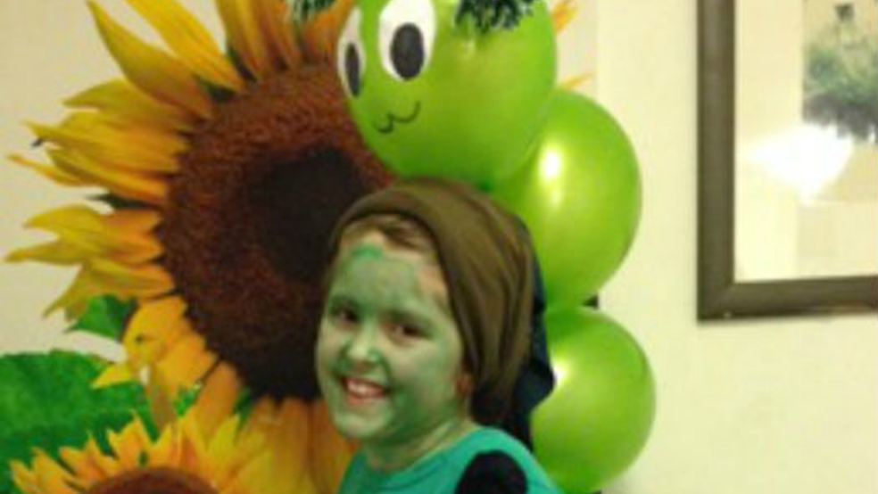 Katie, aged 9 dressed as a caterpillar